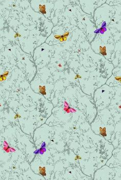 """Timorous Beasties Wallcoverings - """"Butterflies"""" The Bright colours of the butterflies contrast with the aqua blue background. The organic shapes of the trees with the addition of the butterflies create a natural feeling to the wallpaper. Timorous Beasties' signature style of contemporary mixing with traditional can be clearly shown in this wallpaper."""