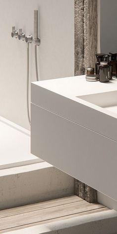 Piet Boon design badkamer kranen bycocoon.com | Piet Boon® by COCOON design bathroom faucets in inox brushed stainless steel | modern shower sets | tapware | bathroom design | minimalist bathroom | combined with modern solid surface COCOON vanity | Dutch Designer Brand COCOON