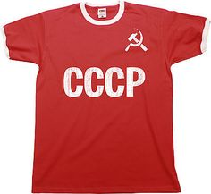 CCCP Soviet Union Mens RINGER T-Shirt Retro Russia Football Birthday  a0cceca39a4aa