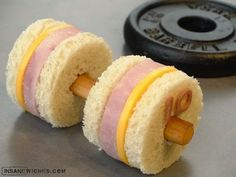 Ham & Cheese Dumbbell Weights Sandwich