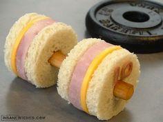 Ham & Cheese Dumbbell Weights Sandwich fun food, idea, sandwiches, weight, lunch, funni food, snack, comida, kid