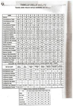 tabella misure e vestibilità