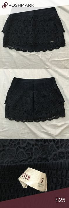Hollister Navy Lace Mini Skirt Worn once, tags not attached. Great condition. Hollister Skirts Mini