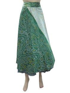 Amazon.com: Womens Magic Silk Wrap Around Skirt Hippie Boho Green Grey Skirts Dress: Clothing