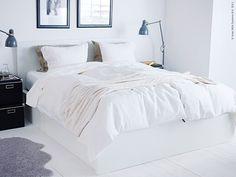 Bed w storage Ikea Ikea Bedroom, Home Bedroom, Bedroom Decor, My Home Design, Home Interior Design, House Design, Cama Ikea, Malm Bed, Bungalow Interiors