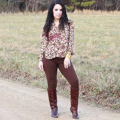 Brown print blouse