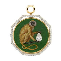 Italian Micromosaics, Diamond and Gold Pendant | From a unique collection of vintage more objets d'art and vertu at https://www.1stdibs.com/jewelry/objets-dart-vertu/more-objets-dart-vertu/
