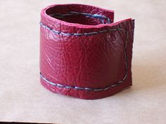 #Red #Leather Cuff Bracelet by beadbooty.etsy.com.