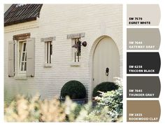 How To Pick The Exterior Paint Colors Match Best With The Roof - Stylendesigns - - What is the right exterior colors for your roof color? If you are planning to paint the house. Let's see our idea for the right exterior color for your roof. White Brick Houses, White Exterior Houses, Interior Exterior, Exterior Design, Facade Design, Painted White Brick House, White Exterior Paint, Stucco Exterior, Wall Exterior