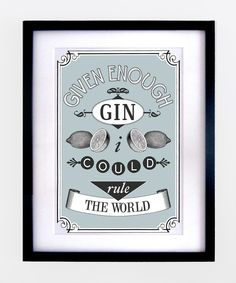 Kitchen Print Gin Poster Blue Wall Art by oflifeandlemons on Etsy, $18.50