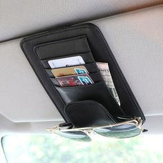 PU Leather Mobile Phone Holder iTimo Car Organizer with Air Vent Outlet Hook Sunglasses Ticket Card Storage Bag