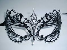 Stunning Filigree Metal Venetian Masquerade Ladies Mask in Black Masquerade Mask Template, Venetian Masquerade Masks, Masquerade Halloween Costumes, Masquerade Party, Blue Costumes, Party Costumes, Holiday Costumes, Lace Mask, Diy Lace Eye Mask