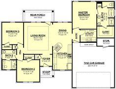 European Style House Plan - 3 Beds 2 Baths 1500 Sq/Ft Plan #430-62 Main Floor Plan - Houseplans.com