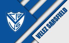 Download wallpapers CA Velez Sarsfield, Argentine football club, 4k, material design, white blue abstraction, Buenos Aires, Argentina, football, Argentine Superleague, First Division