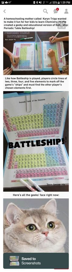 I'd have loved Chemistry a lot more with this Periodic Table Battleship Ich hätte Chemie mit diesem Periodensystem-Schlachtschiff viel mehr geliebt E Mc2, Physical Science, Teaching Science, Science Geek, Science Symbols, Kindergarten Science, Science Fun, Science Projects, Preschool