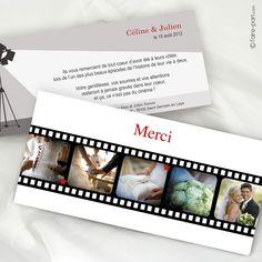 Carte de remerciement Mariage Cinéma K56K