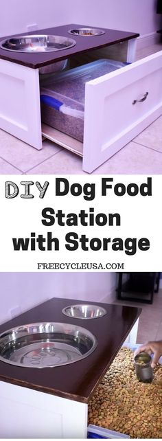 Furniture Plans - Easy Woodworking With Quality Wood Furniture Plans Learn to build a DIY Dog Feeding Station and more.Learn to build a DIY Dog Feeding Station and more. Dog Furniture, Furniture Plans, Furniture Making, Pallet Furniture, Dog Feeding Station, Pet Station, Pet Food Storage, Storage Ideas, Diy Storage