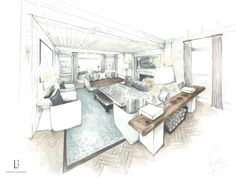 Lambart and Browne Interior Design - Watercolour by our Creative Director, Freddy van Zevenbergen for a project in Weybridge • Living • Drawing Room • Modern • Contemporary • L&B