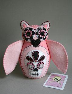 Embroidered Owl - Mexican Folk Art - Loteria - Sugar Skull Owl - La Calavera - Felt Owl - Owl Doll