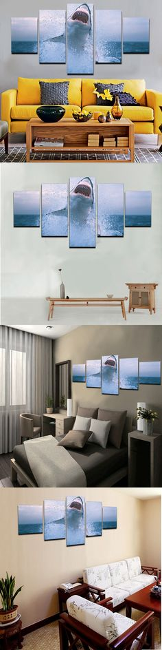5 PCS 2015 Hot Sell HD Shark Picture Modern Home Wall Decor Painting Print Painting For House Decorate $24.25