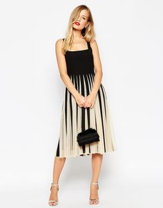 Image 4 ofASOS TALL Mesh Insert Square Neck Fit and Flare Midi Dress