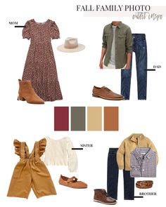 Fall Family Picture Outfits, Family Picture Colors, Fall Family Pictures, Fall Photo Shoot Outfits, Family Portraits What To Wear, Family Portrait Outfits, Family Photography Outfits, Clothing Photography, What To Wear Fall