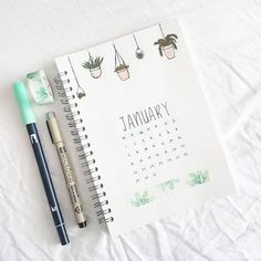 """7,909 curtidas, 58 comentários - Juliane Mica (@senseistudies) no Instagram: """"January monthly cover done! I love plants but I just can't seem to keep them alive hanging…"""""""