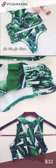 🍃Leaf Bikini 2017🍃 Super cute Leaf Bikini with trendy cut outs on the bra and pants. Material: Spandex, Nylon Size S/M. Bra has padding. Pants low waist. It comes with hygienic protection. Pants 14 inches.  Bra Length: 15 inches Swim Bikinis