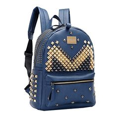 COOL PUNK RIVET LEATHER SHOULDER BAG SCHOOL DAYPACK LAPTOP BACKPACK FOR GIRLS (BLUE) - Click image twice - See a larger selection of little girls backpacks at http://kidsbackpackstore.com/product-category/little-girls-backpack/ - kids, juniors, back to school, kids fashion ideas, school supplies, backpack, bag , teenagers, girls, boys, gift ideas