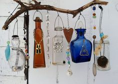 Bottle Chime/Vintage Bottles Embellished with by creationdesigns, $45.95