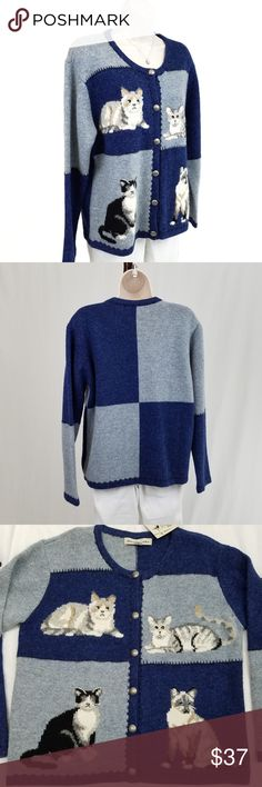 NWT cat cardigan NWT long sleeve crew neck button front cardigan featuring cat images in color block panels of royal & French blue.  Whipstitch detail between panels and along edges.  Had tiny hole on back of sleeve (see photo 6); flawlessly mended & invisible when worn.  Purchased from David Brooks factory.  Bust 21 / length 24 inches.  100% wool. David Brooks Sweaters Cardigans