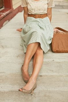 Classic mint polka dot + lace top + perfect neutrals