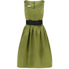 This would be fabulous in a jewel tone instead of pea green. Classic Fifties-Inspired Italian Duchess Silk Dress w/ fitted bodice, soft square neckline, gently gathered skirt, & silk gazar couture bow belt at the wasp waist. The hem falls well below the knee & is lifted out w/ a net underskirt. Fully lined in black. ($ 1,045) at suzannah.com via Polyvore