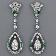 Fabulous Art Deco emerald and diamond earrings.