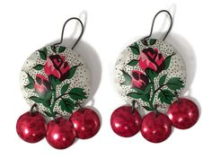 Recycled Tin Earrings, Red Rose Gypsy Earrings by TinMoonJewelryworks on Etsy. $36