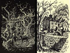Illlustration by Peter Boston depicting the green deer - a topiary deer who sometimes comes alive - for The Children of Green Knowe by his mother, Lucy M Boston.  I was obsessed with these books as a kid.