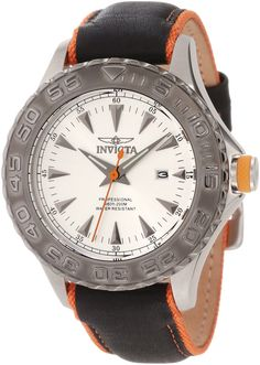 Invicta Men's 12612 Pro Diver Silver Dial Black Leather Strap Watch. Japanese quartz movement. Mineral crystal; stainless steel case; black leather strap with orange nylon trim. Date function. Silver tone dial with gunmetal tone hands and hour markers; orange second hand; luminous; unidirectional gunmetal ion-plated stainless steel bezel; orange accent ring on crown. Water resistant to 660 feet (200 M): suitable for recreational scuba diving.