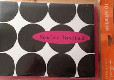 Hallmark Stationary Invitation Cards You're Invited Pink Banner Black Dots  #Hallmark #Party