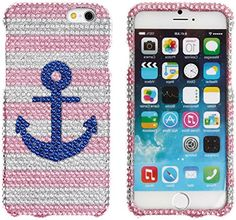 """myLife Pink, Silver, and Blue {Rhinestone Stripes with Anchor} 2 Piece Snap-On Rubberized Protective Faceplate Case for the NEW iPhone 6 (6G) 6th Generation Phone by Apple, 4.7"""" Screen Version """"All Ports Accessible"""" myLife Brand Products http://www.amazon.com/dp/B00U2VBH36/ref=cm_sw_r_pi_dp_n8xhvb0Q562MB"""