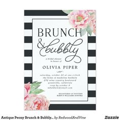 66c14e090435 Antique Peony Brunch   Bubbly Bridal Shower Invite