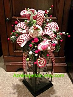 Christmas candy lantern swag, Christmas Tree Topper, Christmas red & white lantern swag, christmas candle, Christmas arrangement