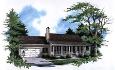 Elevation of Country   Ranch   House Plan 93449