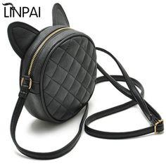 0b0baeb4e40 LINPAI 2018 Women Crossbody Purse Bag Brand Ladies Small PU Messenger Bags  Female Shoulder Bag Round