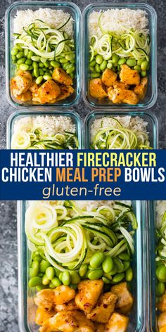 Healthier firecracker chicken meal prep bowls are sweet and spicy! Lightened up compared to classic recipes, but still super flavorful. Gluten-free and ready in 35 minutes. Chicken Breast Recipes Slow Cooker, Slow Cooker Freezer Meals, Chicken Breast Recipes Healthy, Chicken Meal Prep, Grilled Chicken Recipes, Healthy Chicken, Healthy Food, Healthy Recipes, Lunch Meal Prep