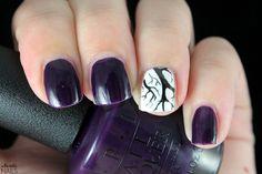 Starting September with these dark violet nails. OPI - Viking in a Vinter Vonderland / Gina Tricot - White / Konad - Black / Born Pretty Store - BP-L015.