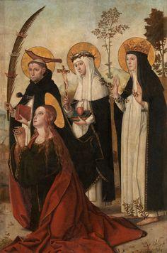 The Magdalene, St. Peter of Verona, St. Catherine of Siena and Blessed Margaret of Hungary / La Magdalena, San Pedro de Verona, Santa Catalina de Siena y la beata Margarita de Hungría // ca. 1515 // Juan de Borgoña