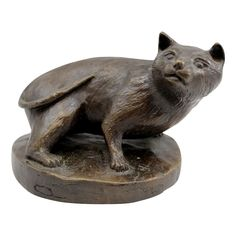 Barbara Faucher Signed Bronze Sculpture of a Crouching Cat