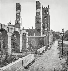 """1865. Charleston, S.C. """"Broad Street, looking east with the ruins of Cathedral of St. John and St. Finbar."""" Aftermath of the Great Fire of 1861. Wet plate negative from the Civil War photographs collection, Library of Congress."""