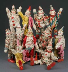 Vintage Schoenhut Wooden Circus Clowns Collection #collections