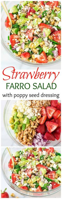 This Strawberry Farro Salad is full of spinach, feta, avocado, and lots of fresh strawberries. Topped with a sweet balsamic poppyseed dressing. The perfect summer meal! Recipe at www.wellplated.com @wellplated